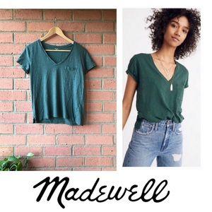 Madewell Whisper Cotton V-Neck Tee | Green | M